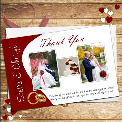 10 Personalised Comtempary Red & Gold Rings Wedding Day Thank you cards N145
